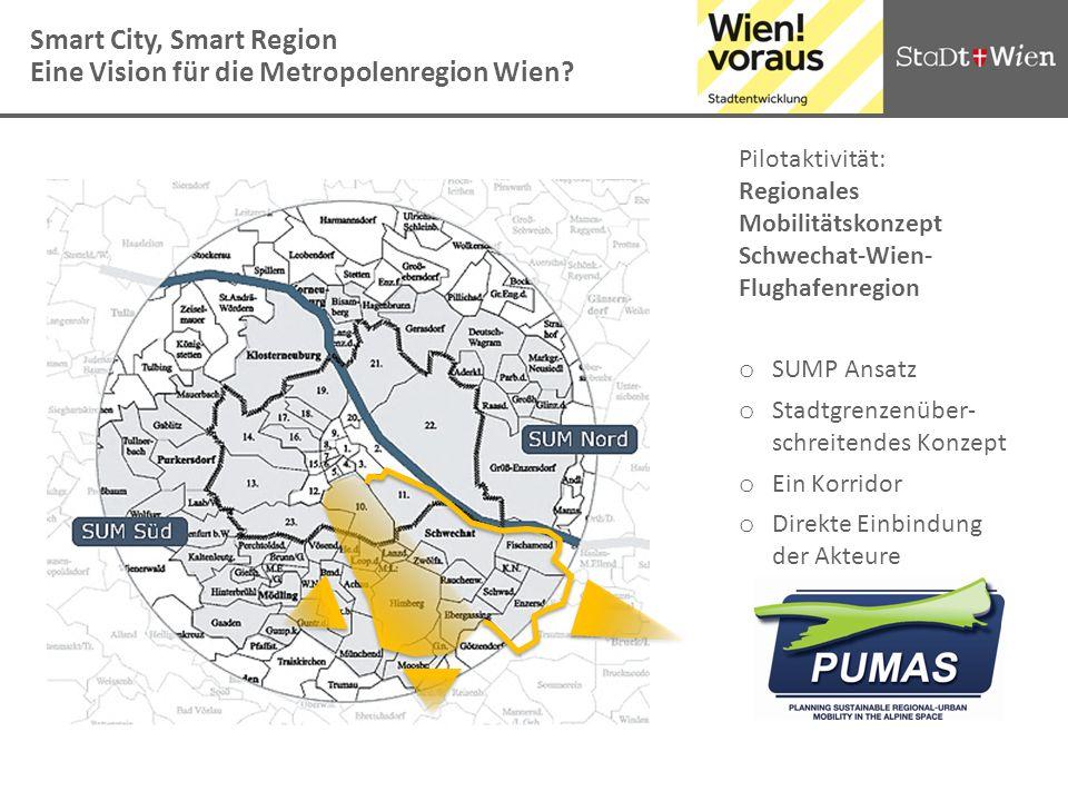 Smart City, Smart Region Eine Vision für die Metropolenregion Wien? Pilotaktivität: Regionales Mobilitätskonzept Schwechat-Wien- Flughafenregion o SUM