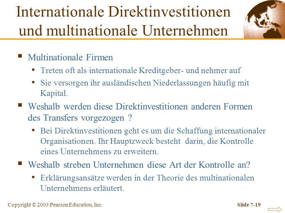 Copyright © 2003 Pearson Education, Inc.Slide 7-19 Multinationale Firmen Treten oft als internationale Kreditgeber- und nehmer auf Sie versorgen ihr a