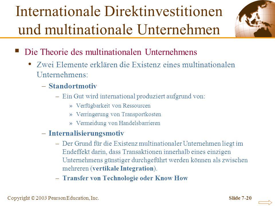 Copyright © 2003 Pearson Education, Inc.Slide 7-20 Die Theorie des multinationalen Unternehmens Zwei Elemente erklären die Existenz eines multinationa