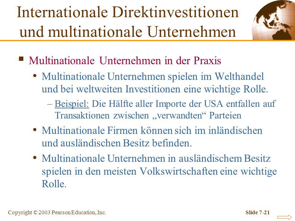 Copyright © 2003 Pearson Education, Inc.Slide 7-21 Multinationale Unternehmen in der Praxis Multinationale Unternehmen spielen im Welthandel und bei w
