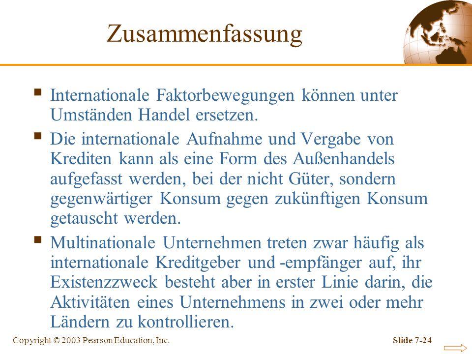 Copyright © 2003 Pearson Education, Inc.Slide 7-24 Zusammenfassung Internationale Faktorbewegungen können unter Umständen Handel ersetzen. Die interna