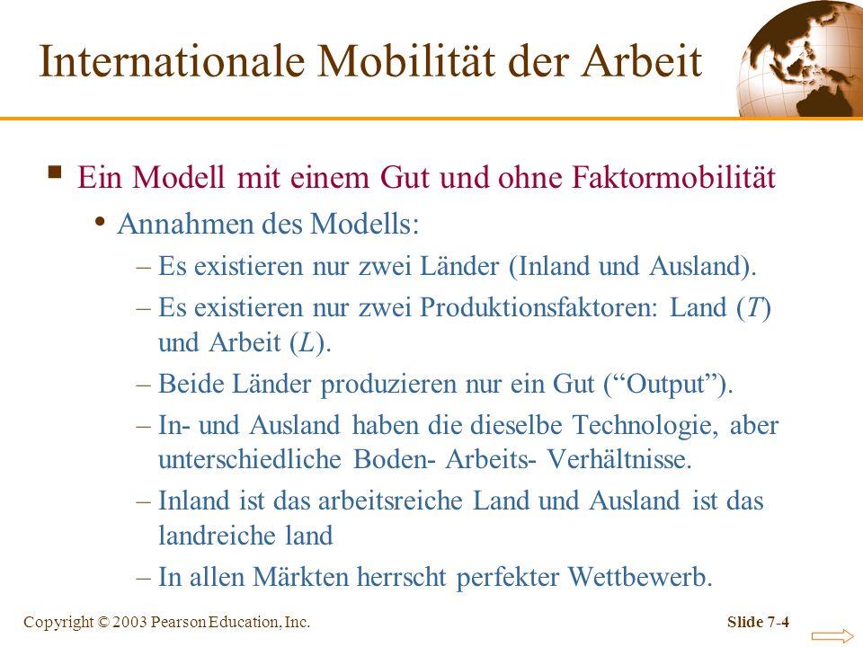 Copyright © 2003 Pearson Education, Inc.Slide 7-4 Ein Modell mit einem Gut und ohne Faktormobilität Annahmen des Modells: –Es existieren nur zwei Länd