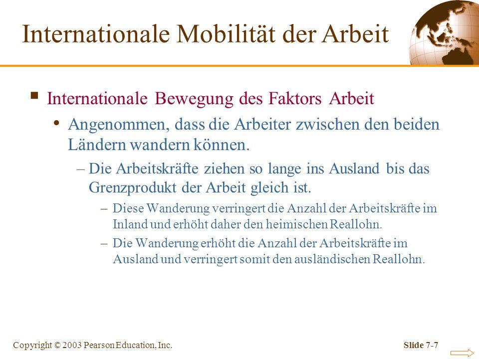 Copyright © 2003 Pearson Education, Inc.Slide 7-7 Internationale Bewegung des Faktors Arbeit Angenommen, dass die Arbeiter zwischen den beiden Ländern