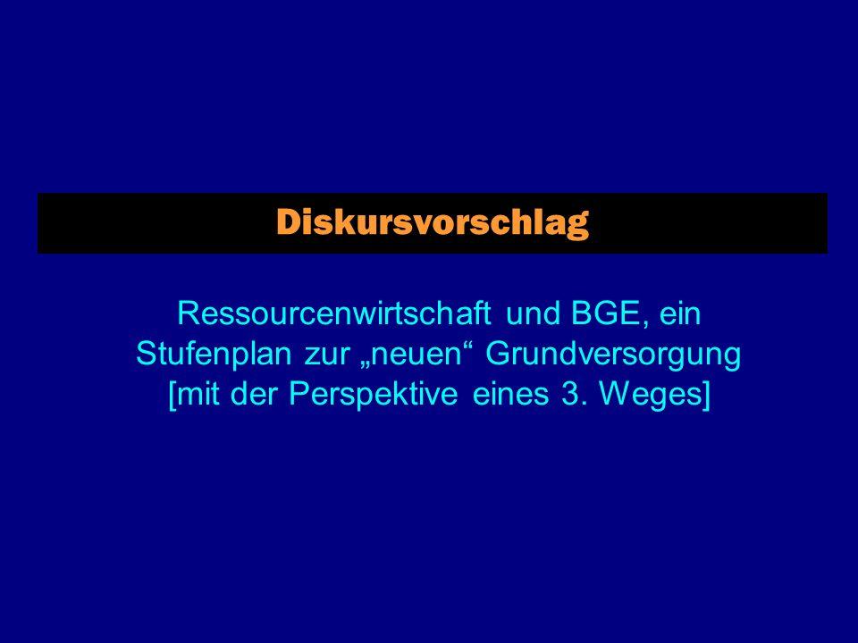Diskursvorschlag Ressourcenwirtschaft und BGE, ein Stufenplan zur neuen Grundversorgung [mit der Perspektive eines 3.