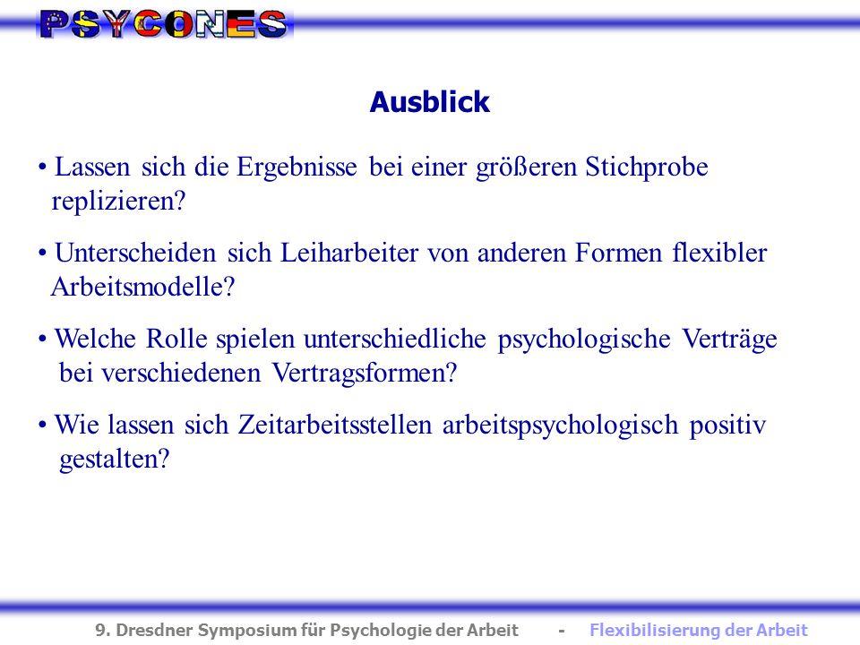 9. Dresdner Symposium für Psychologie der Arbeit - Flexibilisierung der Arbeit Ausblick Lassen sich die Ergebnisse bei einer größeren Stichprobe repli