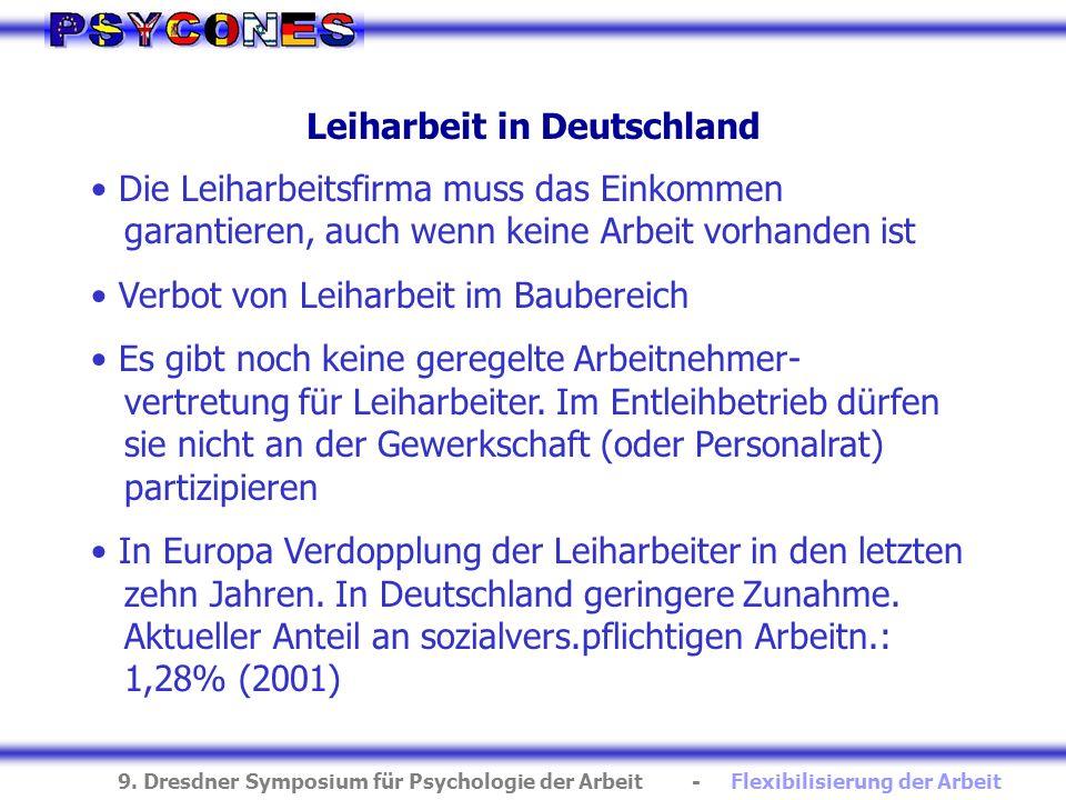 9. Dresdner Symposium für Psychologie der Arbeit - Flexibilisierung der Arbeit Leiharbeit in Deutschland Die Leiharbeitsfirma muss das Einkommen garan
