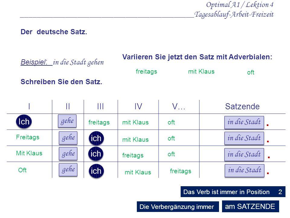 Optimal A1 / Lektion 4 ___________________________________________Tagesablauf-Arbeit-Freizeit IIIIIIIVV…Satzende Der deutsche Satz.