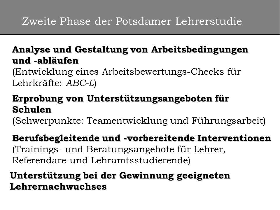 Zweite Phase der Potsdamer Lehrerstudie Analyse und Gestaltung von Arbeitsbedingungen und -abläufen Analyse und Gestaltung von Arbeitsbedingungen und