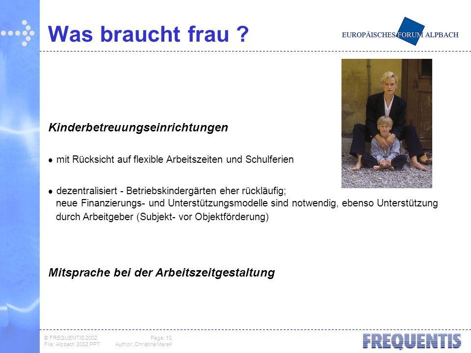 © FREQUENTIS 2002 Page: 10 File: Alpbach 2002.PPTAuthor: Christine Marek Was braucht frau .
