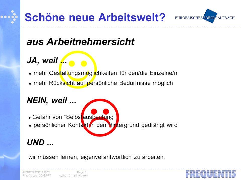 © FREQUENTIS 2002 Page: 11 File: Alpbach 2002.PPTAuthor: Christine Marek Schöne neue Arbeitswelt.