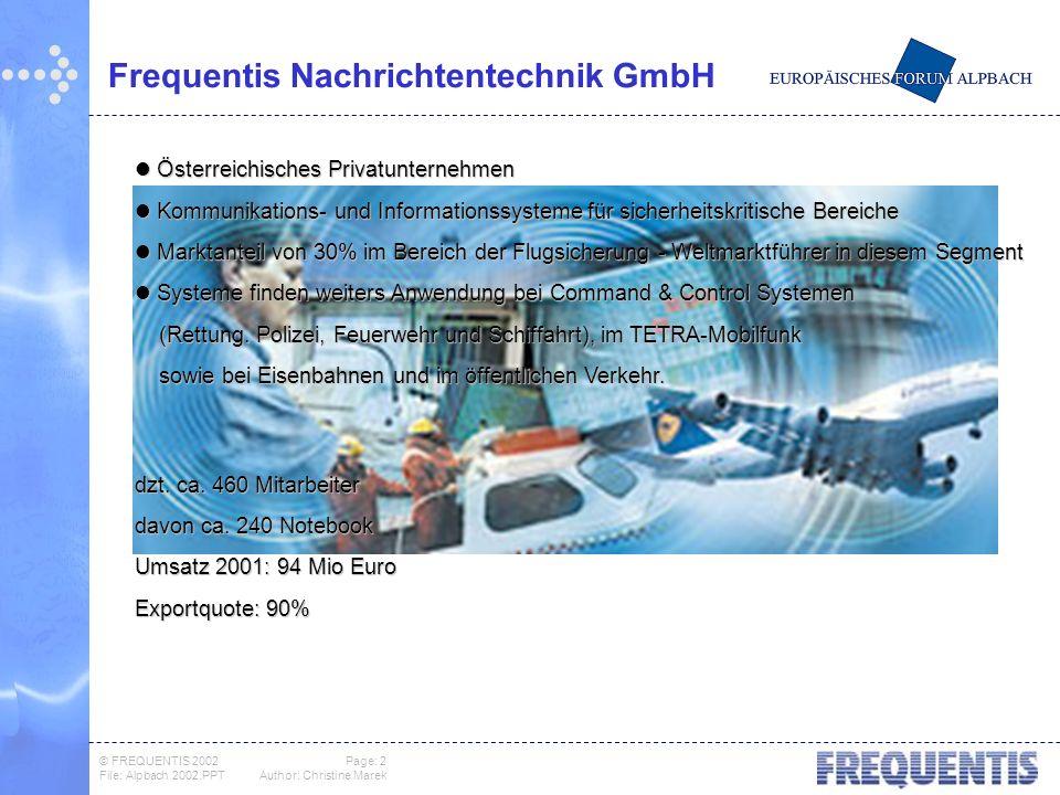 © FREQUENTIS 2002 Page: 3 File: Alpbach 2002.PPTAuthor: Christine Marek Arbeit heute Quo Vadis .