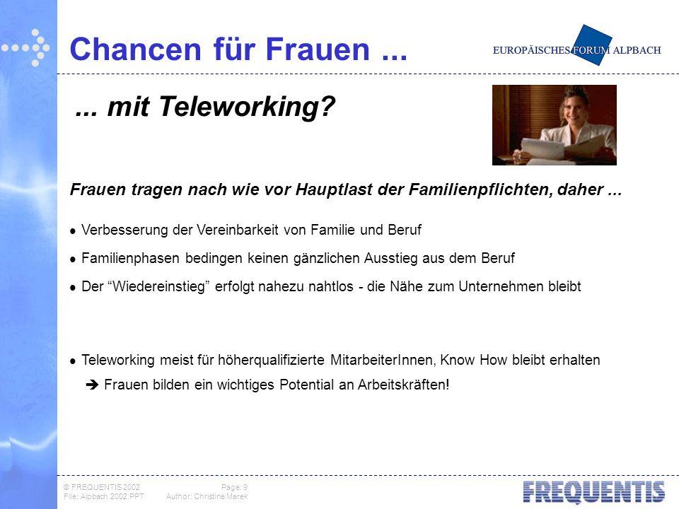 © FREQUENTIS 2002 Page: 9 File: Alpbach 2002.PPTAuthor: Christine Marek Chancen für Frauen...