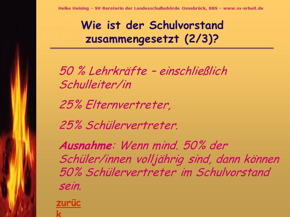 Schlüsselfragen zur Eigenverantwortlichen Schule Wie ist der Schulvorstand zusammengesetzt (3/3).
