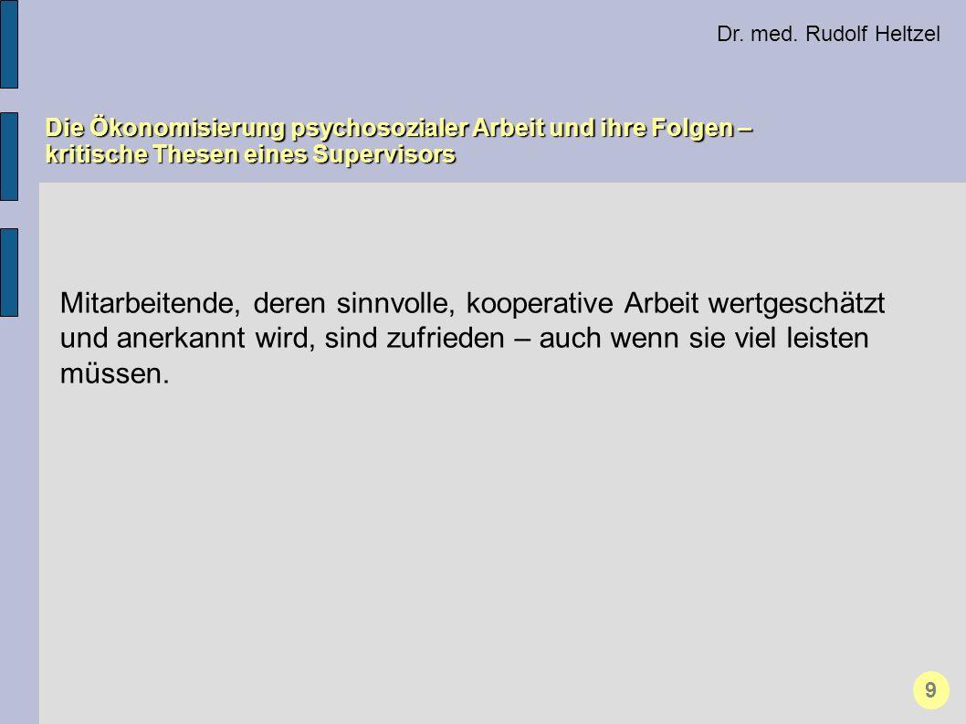 Dr. med. Rudolf Heltzel Die Ökonomisierung psychosozialer Arbeit und ihre Folgen – kritische Thesen eines Supervisors 9 Mitarbeitende, deren sinnvolle