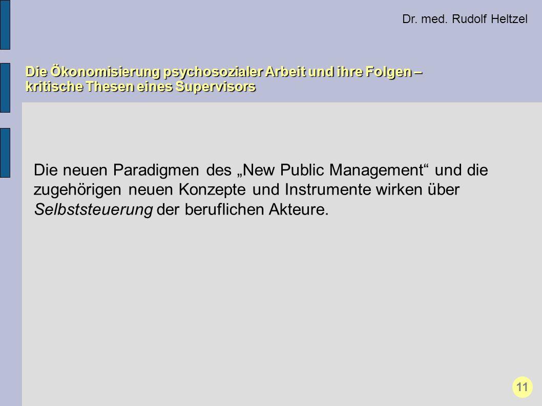 Dr. med. Rudolf Heltzel Die Ökonomisierung psychosozialer Arbeit und ihre Folgen – kritische Thesen eines Supervisors 11 Die neuen Paradigmen des New