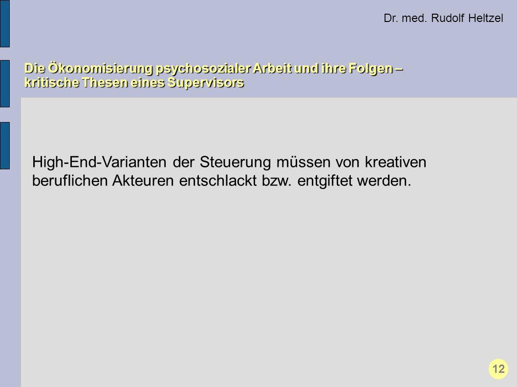 Dr. med. Rudolf Heltzel Die Ökonomisierung psychosozialer Arbeit und ihre Folgen – kritische Thesen eines Supervisors 12 High-End-Varianten der Steuer