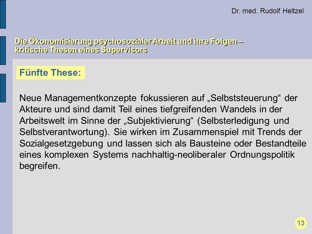 Dr. med. Rudolf Heltzel Die Ökonomisierung psychosozialer Arbeit und ihre Folgen – kritische Thesen eines Supervisors Fünfte These: Neue Managementkon