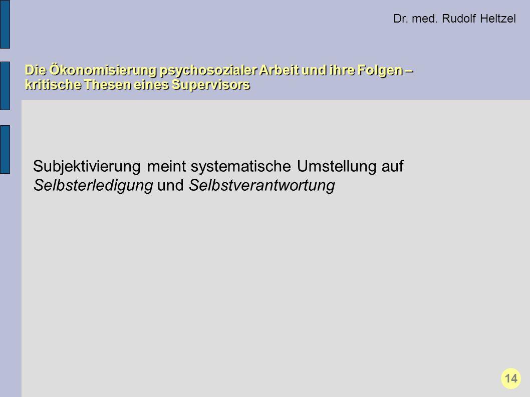 Dr. med. Rudolf Heltzel Die Ökonomisierung psychosozialer Arbeit und ihre Folgen – kritische Thesen eines Supervisors 14 Subjektivierung meint systema