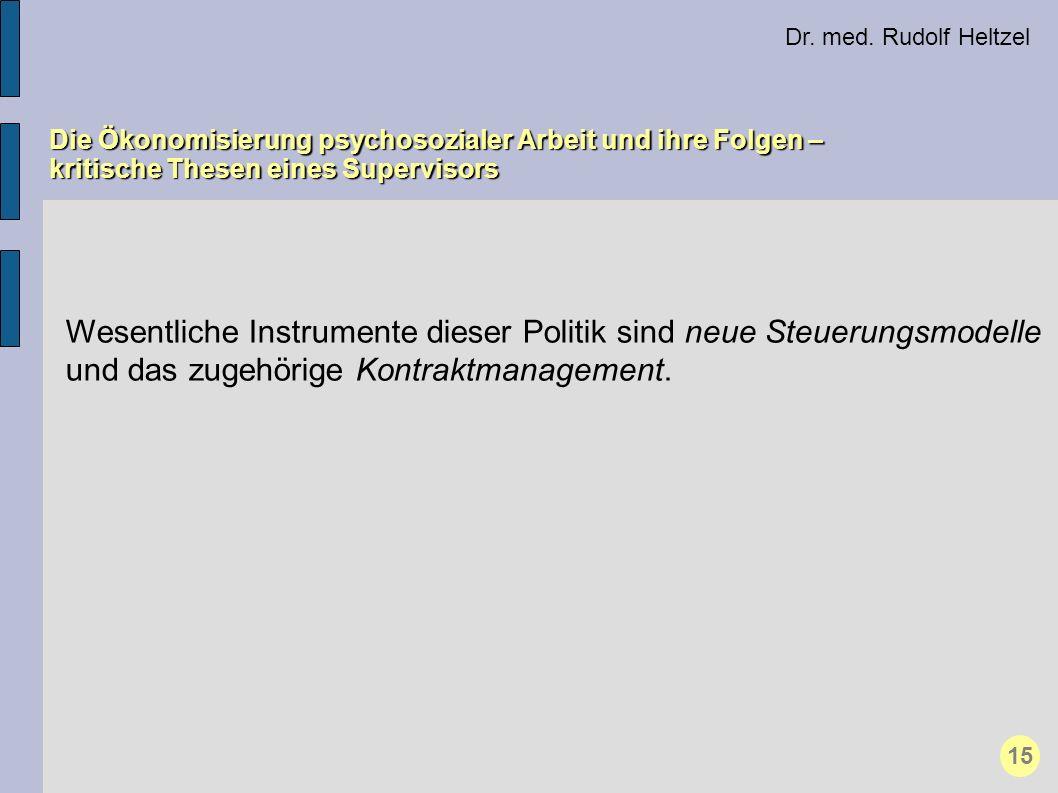 Dr. med. Rudolf Heltzel Die Ökonomisierung psychosozialer Arbeit und ihre Folgen – kritische Thesen eines Supervisors 15 Wesentliche Instrumente diese