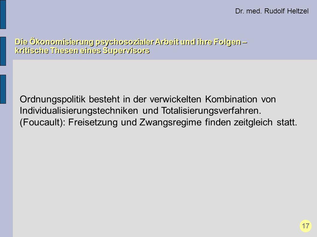 Dr. med. Rudolf Heltzel Die Ökonomisierung psychosozialer Arbeit und ihre Folgen – kritische Thesen eines Supervisors 17 Ordnungspolitik besteht in de