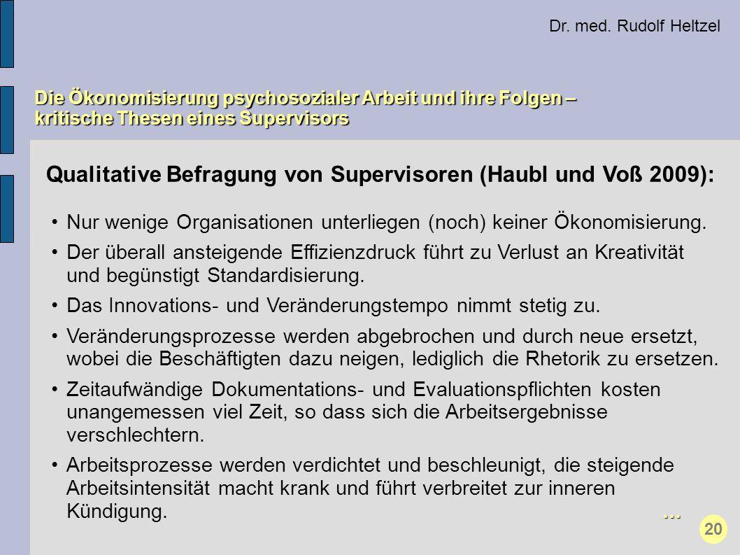 Qualitative Befragung von Supervisoren (Haubl und Voß 2009): Nur wenige Organisationen unterliegen (noch) keiner Ökonomisierung. Der überall ansteigen