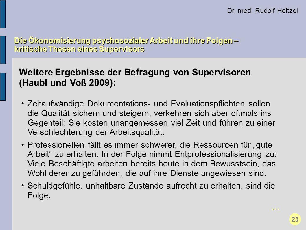 Weitere Ergebnisse der Befragung von Supervisoren (Haubl und Voß 2009): Zeitaufwändige Dokumentations- und Evaluationspflichten sollen die Qualität si