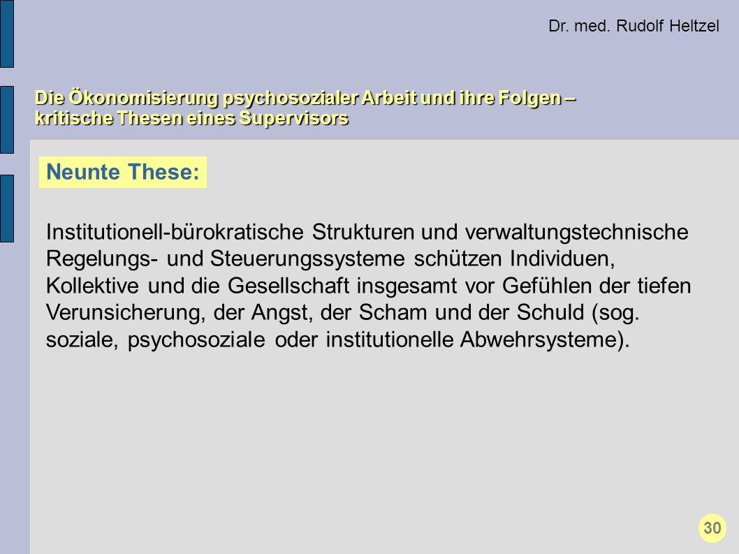 Dr. med. Rudolf Heltzel Die Ökonomisierung psychosozialer Arbeit und ihre Folgen – kritische Thesen eines Supervisors Neunte These: Institutionell-bür