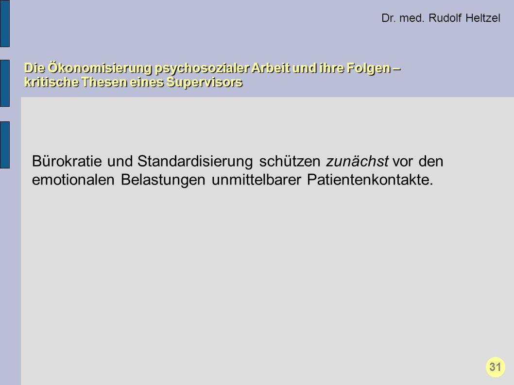 Dr. med. Rudolf Heltzel Die Ökonomisierung psychosozialer Arbeit und ihre Folgen – kritische Thesen eines Supervisors 31 Bürokratie und Standardisieru