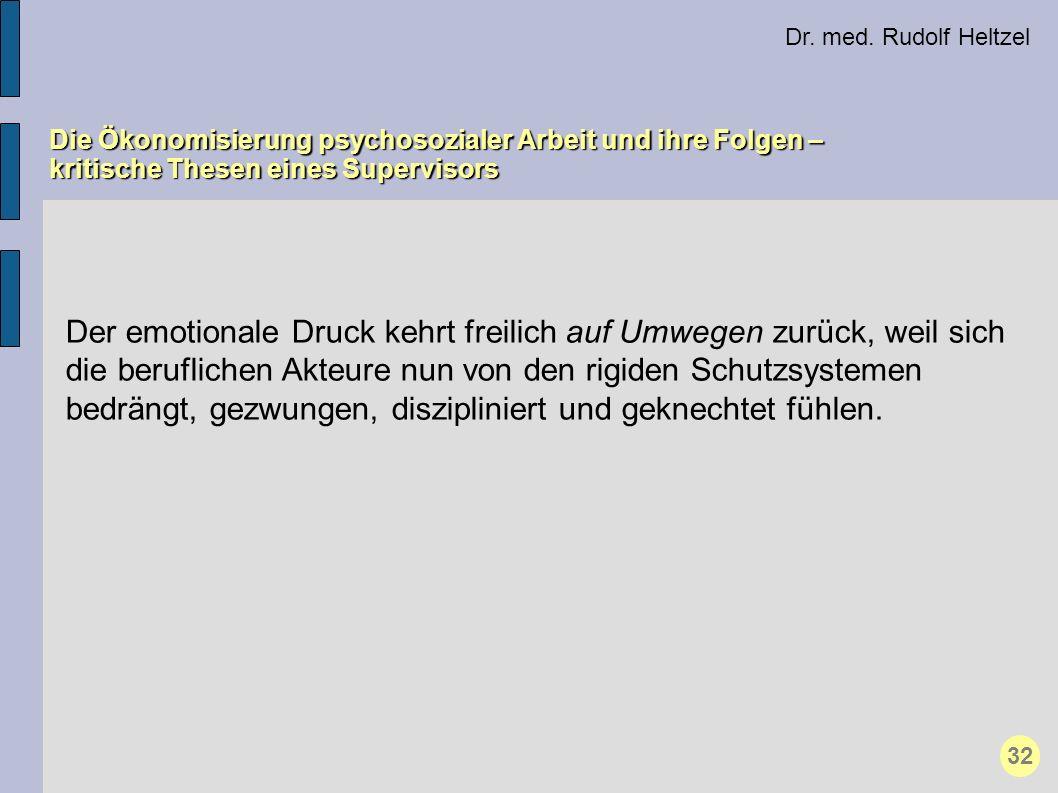 Dr. med. Rudolf Heltzel Die Ökonomisierung psychosozialer Arbeit und ihre Folgen – kritische Thesen eines Supervisors 32 Der emotionale Druck kehrt fr