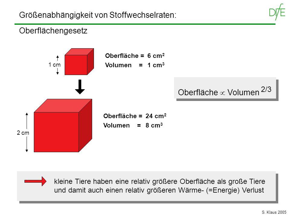 Größenabhängigkeit von Stoffwechselraten: Oberflächengesetz 2 cm 1 cm Oberfläche = 6 cm 2 Volumen = 1 cm 3 Oberfläche = 24 cm 2 Volumen = 8 cm 3 Oberf