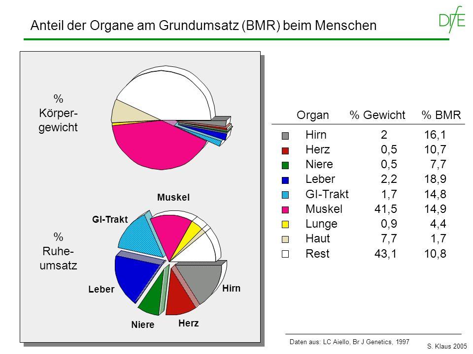 Anteil der Organe am Grundumsatz (BMR) beim Menschen Hirn 216,1 Herz 0,510,7 Niere 0,5 7,7 Leber 2,218,9 GI-Trakt 1,714,8 Muskel41,514,9 Lunge 0,9 4,4