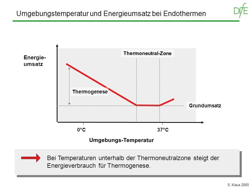 Umgebungstemperatur und Energieumsatz bei Endothermen Umgebungs-Temperatur Energie- umsatz 0°C 37°C Thermoneutral-Zone Bei Temperaturen unterhalb der