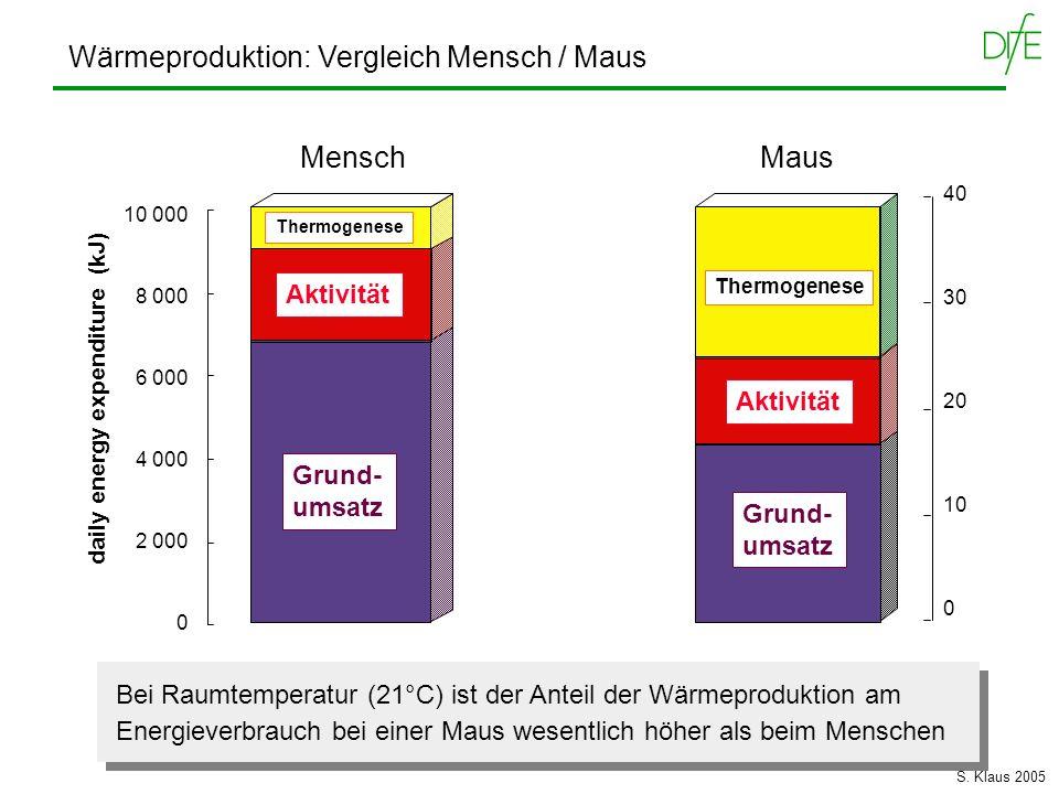 Wärmeproduktion: Vergleich Mensch / Maus 40 30 20 10 0 MausMensch 10 000 8 000 6 000 4 000 2 000 0 daily energy expenditure (kJ) Grund- umsatz Thermog