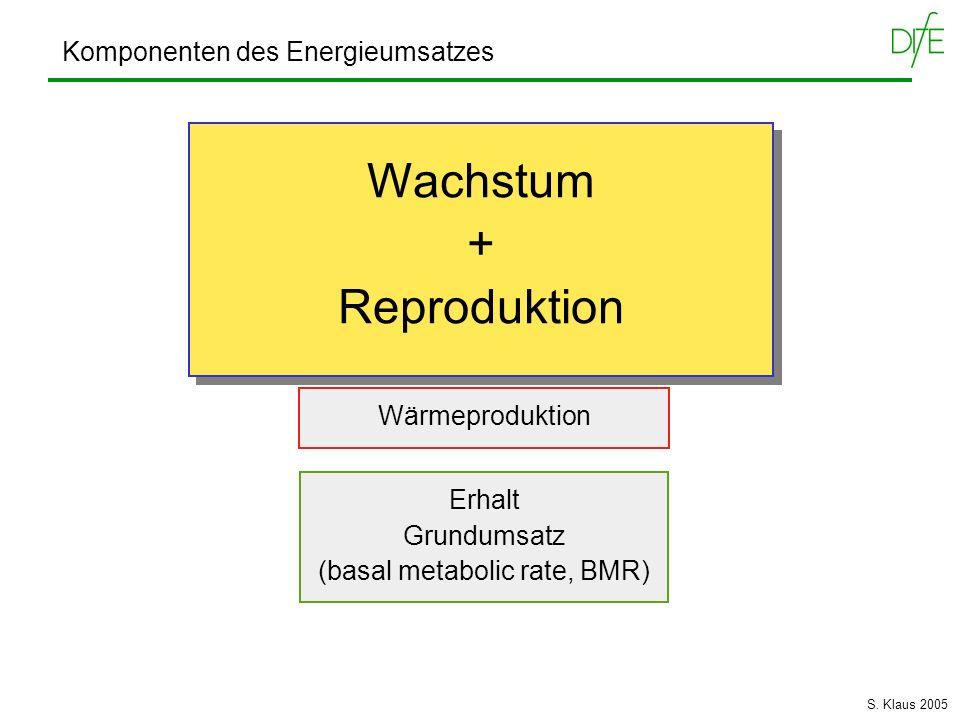 Komponenten des Energieumsatzes Wärmeproduktion Erhalt Grundumsatz (basal metabolic rate, BMR) Aktivität Reproduktion Wachstum + Reproduktion Wachstum