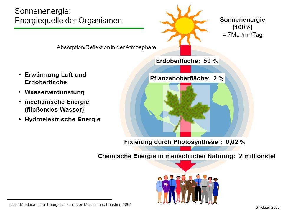 Sonnenenergie (100%) = 7Mc /m 2 /Tag Absorption/Reflektion in der Atmosphäre Erdoberfläche: 50 % Erwärmung Luft und Erdoberfläche Wasserverdunstung me