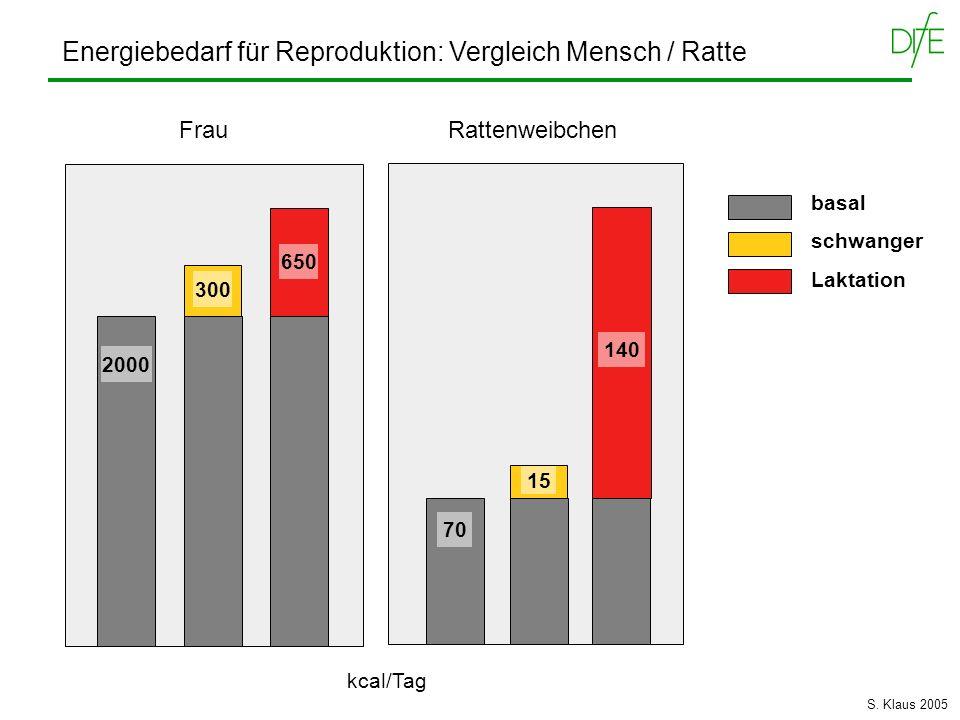 Energiebedarf für Reproduktion: Vergleich Mensch / Ratte Frau Rattenweibchen 2000 300 650 70 15 140 basal schwanger Laktation kcal/Tag S. Klaus 2005
