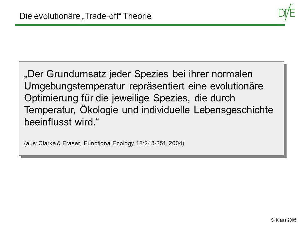 Die evolutionäre Trade-off Theorie Der Grundumsatz jeder Spezies bei ihrer normalen Umgebungstemperatur repräsentiert eine evolutionäre Optimierung fü