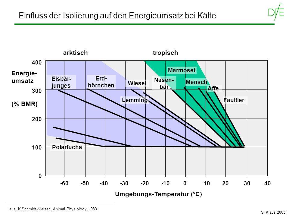 -60 -50 -40 -30 -20 -10 0 10 20 30 40 Umgebungs-Temperatur (°C) Energie- umsatz (% BMR) 400 300 200 100 0 Faultier Nasen- bär Mensch Marmoset Wiesel L