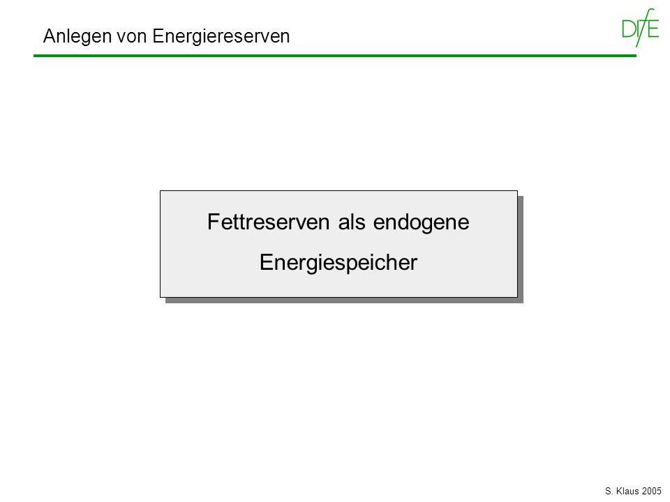 Fettreserven als endogene Energiespeicher Fettreserven als endogene Energiespeicher Anlegen von Energiereserven S. Klaus 2005