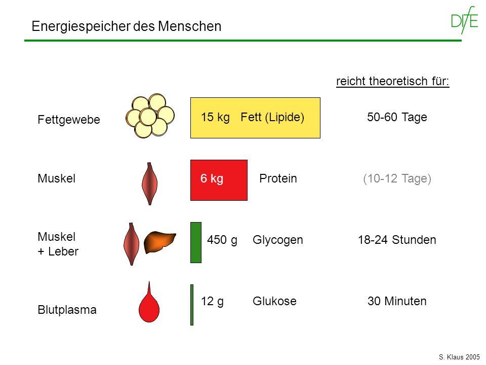 Energiespeicher des Menschen Fettgewebe Muskel + Leber Blutplasma 15 kg Fett (Lipide) 6 kg Protein 450 g Glycogen 12 g Glukose reicht theoretisch für: