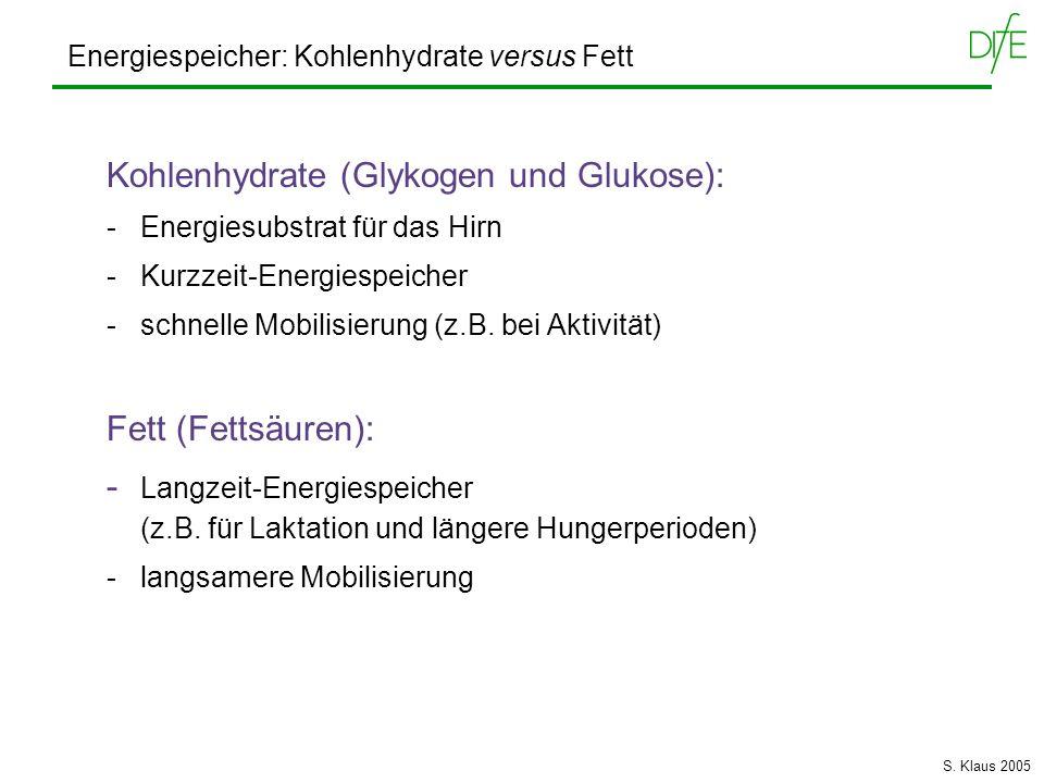 Energiespeicher: Kohlenhydrate versus Fett Kohlenhydrate (Glykogen und Glukose): - Energiesubstrat für das Hirn - Kurzzeit-Energiespeicher - schnelle