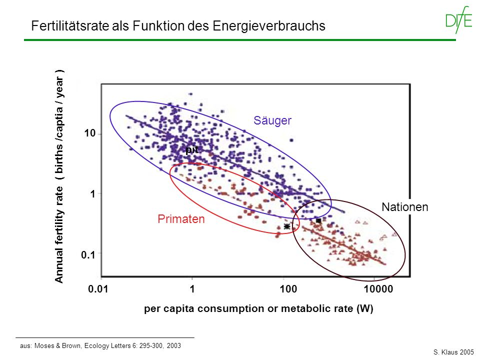 Annual fertility rate ( births /captia / year ) aus: Moses & Brown, Ecology Letters 6: 295-300, 2003 Fertilitätsrate als Funktion des Energieverbrauch