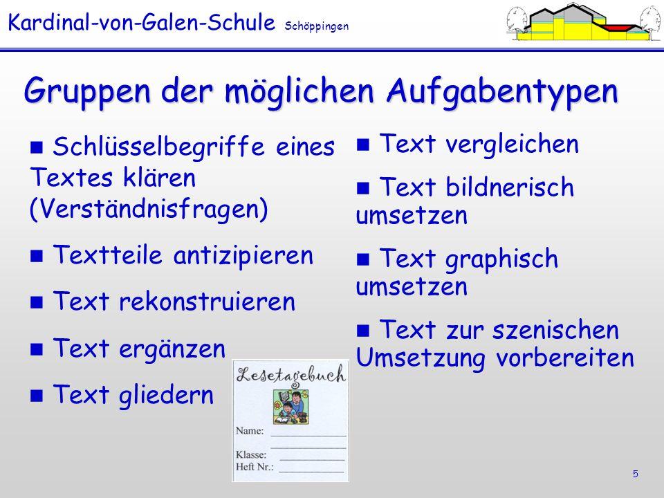 Kardinal-von-Galen-Schule Schöppingen 6 Aufgabentypen Textteile antizipieren Textteile antizipieren (z.B.: Mögliche Entwicklungen vorwegnehmen, einen Anfang verfassen, der zum Buchtitel passt.