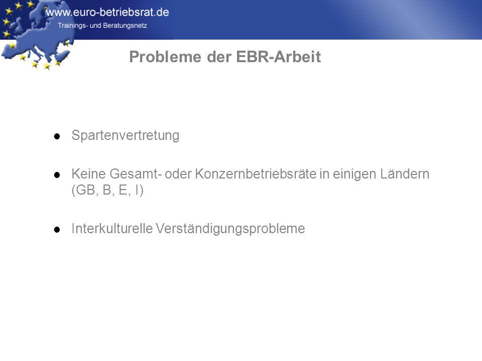 www.euro-betriebsrat.de Probleme der EBR-Arbeit Spartenvertretung Keine Gesamt- oder Konzernbetriebsräte in einigen Ländern (GB, B, E, I) Interkulture