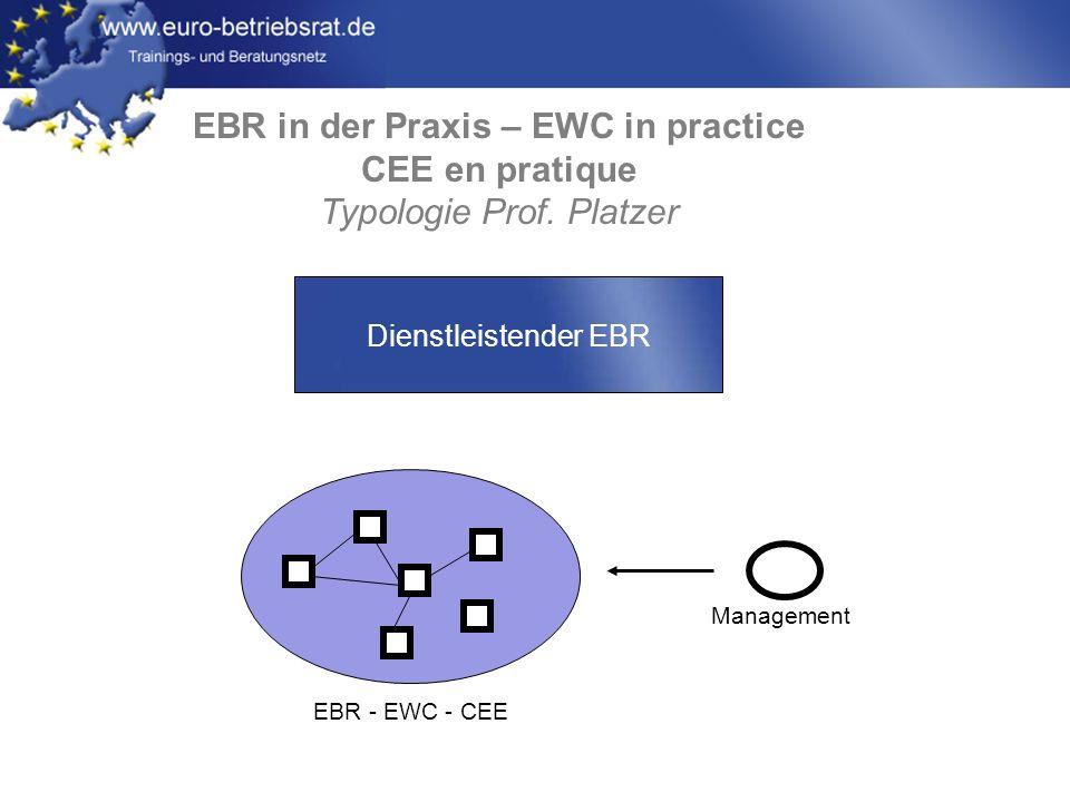 www.euro-betriebsrat.de EBR in der Praxis – EWC in practice CEE en pratique Typologie Prof. Platzer EBR - EWC - CEE Management Dienstleistender EBR
