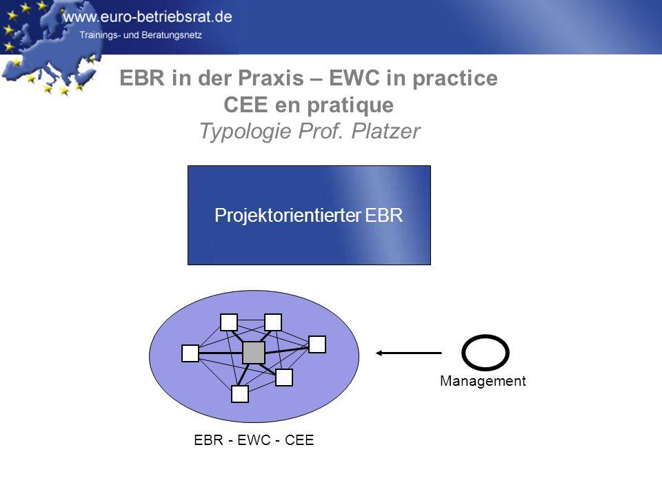www.euro-betriebsrat.de EBR in der Praxis – EWC in practice CEE en pratique Typologie Prof. Platzer EBR - EWC - CEE Management Projektorientierter EBR