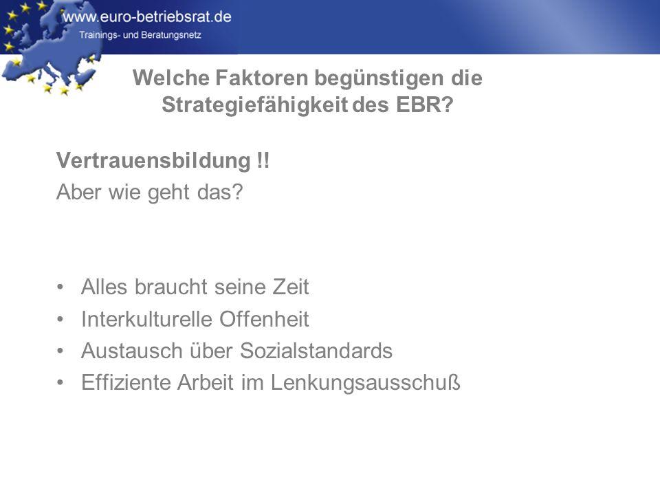 www.euro-betriebsrat.de Vertrauensbildung !! Aber wie geht das? Alles braucht seine Zeit Interkulturelle Offenheit Austausch über Sozialstandards Effi