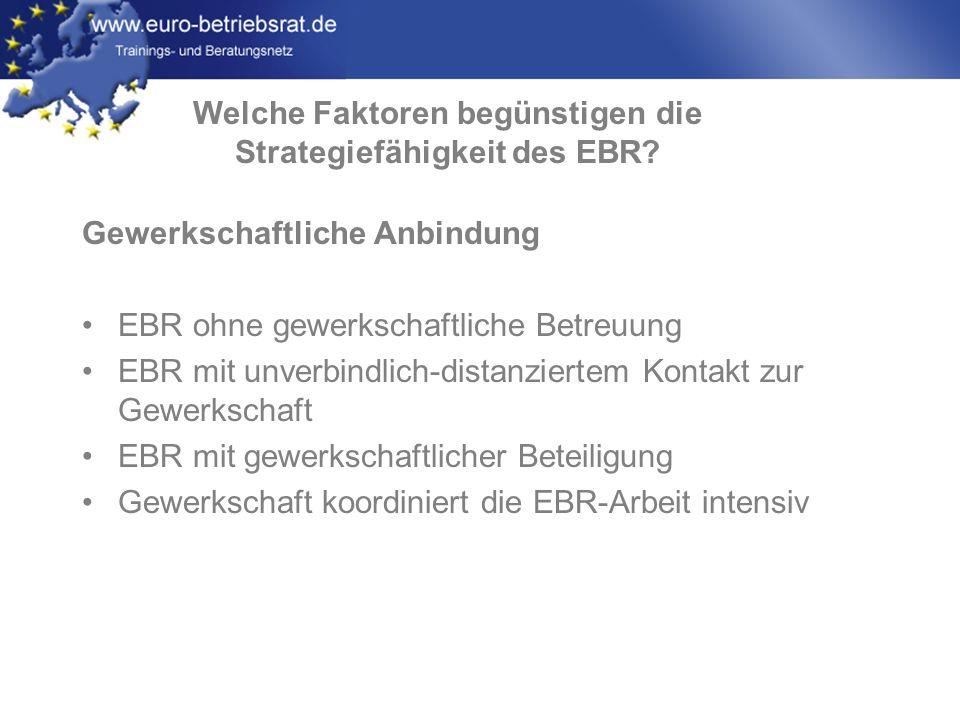 www.euro-betriebsrat.de Gewerkschaftliche Anbindung EBR ohne gewerkschaftliche Betreuung EBR mit unverbindlich-distanziertem Kontakt zur Gewerkschaft