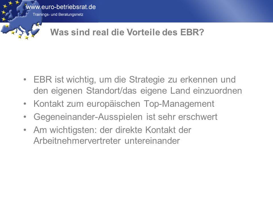www.euro-betriebsrat.de EBR ist wichtig, um die Strategie zu erkennen und den eigenen Standort/das eigene Land einzuordnen Kontakt zum europäischen To