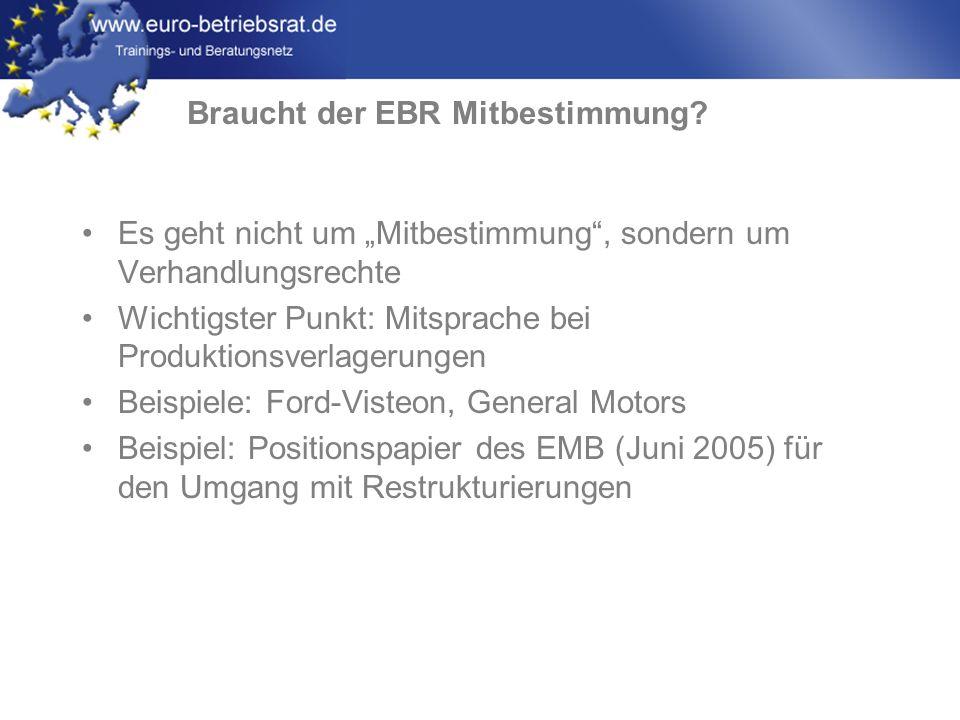 www.euro-betriebsrat.de Es geht nicht um Mitbestimmung, sondern um Verhandlungsrechte Wichtigster Punkt: Mitsprache bei Produktionsverlagerungen Beisp